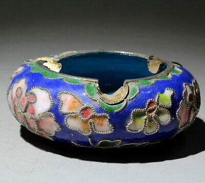 Collectable Chinese Old Cloisonne Hand-Carved Delicate Beautiful Flowers Ashtray