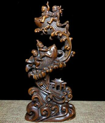 Chinese Collectable Handwork Old Boxwood Carve Children & Fish Moral Luck Statue