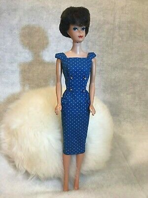 NICE 1963 VTG Bubblecut Barbie Doll & Mattel Dress Original Owner NO Green Ear!