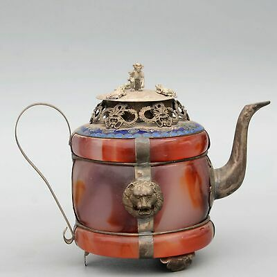 Collect China Miao Silver Armour Agate Hand-Carved Myth Dragon & Monkey Tea Pot