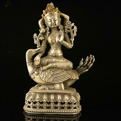 china old copper plating silver handmade gold drawing duck Buddha statue e02C