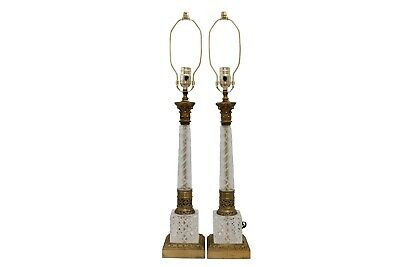 French Empire Cut Glass & Brass Table Lamps - a Pair