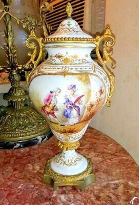 Vintage French Sevres Porcelain and Bronze Lidded Urn.