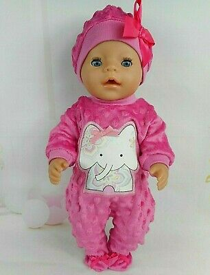 """Dolls clothes for 17"""" Baby Born doll~ELEPHANT HOT PINK BOBBLE JUMPSUIT & HAT"""