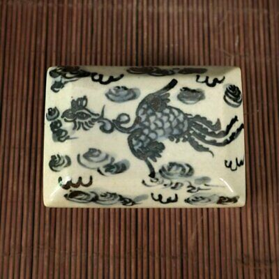 chinese old blue and white porcelain Hand painted crane porcelain inkstone /Wb01