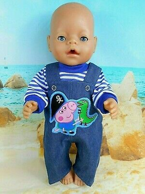 """Dolls clothes for 17"""" Baby Born~CPK doll~PEPPA GEORGE DENIM OVERALLS~STRIPE TOP"""