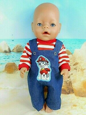 """Dolls clothes for 17"""" Baby Born~CPK doll~PAW PATROL~MARSHALL~ DENIM OVERALLS"""