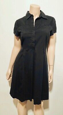 Theory Womens Half Button Pleated Shift Dress Career Short Sleeve Black Size 10