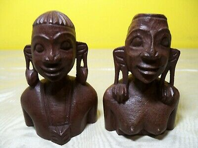Nice Vintage Rare One Of A KInd African Man and Woman Hand Carved Wood Carvings