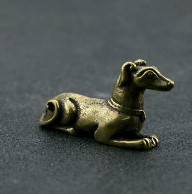Collect chinese old Pure copper hand-made dog good luck Statue Za02
