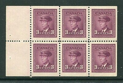 CANADA Scott 252c - NH - 3¢ Rose Violet War Issue Booklet Pane of 6 (.185)