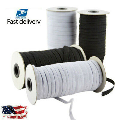 100 yards Flat Elastic Band 3/5/6 mm Rubber Strap Stretch Sewing Making In Stock