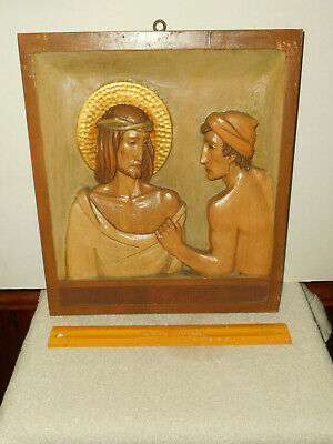 Hand Carved STATIONS OF THE CROSS # 11 Wood Relief Panel Made in ITALY 1940-1960