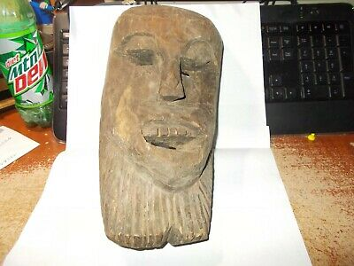 vintage hand carved wood mask measures 12 inches  by 7 inches  by 4 inches