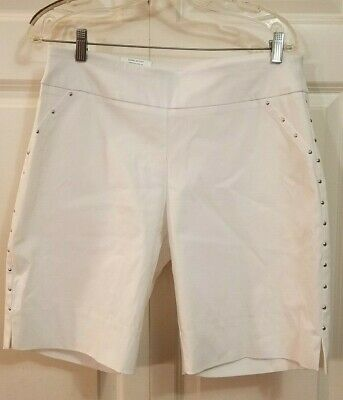 Womens INC International Concepts Core Short With Studded Curvy Mid Rise White 8