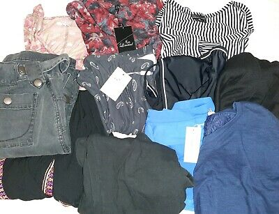 Bulk lot 11 MATERNITY Work Tops New Lace Designer Dress sz L Cargo Pant Swimmers