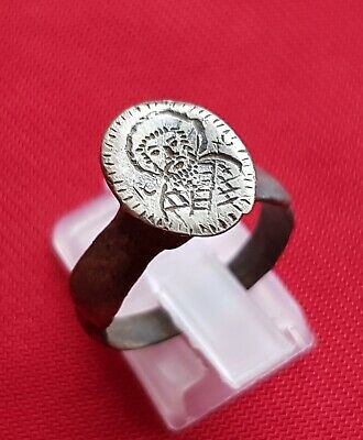 Jesus Christ - Ancient east Roman / Byzantine silver engraved ring .