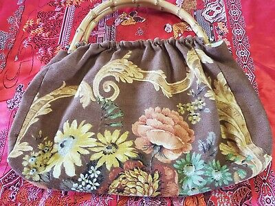 Vintage 1960s Wooden Bamboo Handle Bag