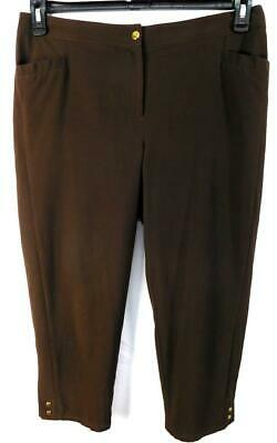 Zenergy by chico's brown faux back pocket women's regular size crop pants 2 , LG