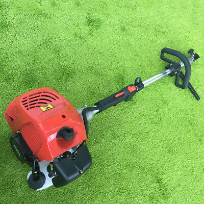 USED!! 1700W Gas Power Sweeper Hand Held Broom Cleaning Driveway Turf Grass 52CC