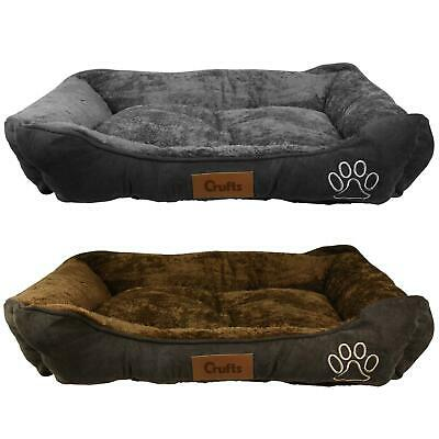 Pet Basket, Bed With Fleece Soft Comfy Fabric Washable Dog Cat Cosy Large