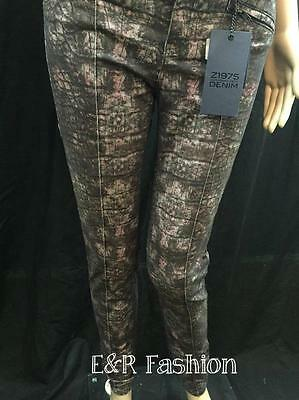 Zara Reptile Pattern Trousers With Faux Leather Waist Size Xs (B5) Ref: 2126 235