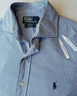 Polo By Ralph Lauren Mens Shirt S Navy Blue White Check Long Sleeve