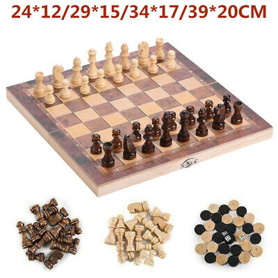 3 in 1 Folding Wooden Chess Set Board Game Checkers Backgammon Draughts Toys UK