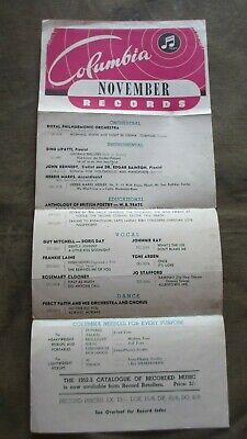 1952 Columbia November Records Track List And Record Index Music and Ephemera.