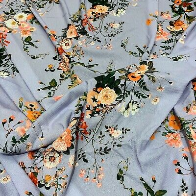 Mink FS101 Navy Nude Floral Print High Quality Jersey Scuba Stretchy Fabric