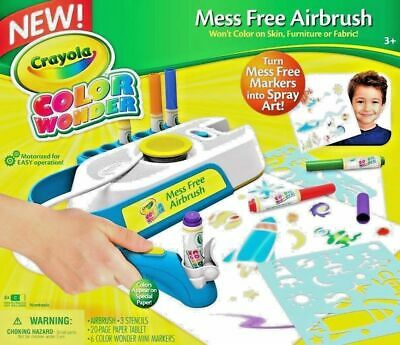 Crayola Colour Wonder Markers Mess Free Motorized Airbrush Kids Art Age Uk