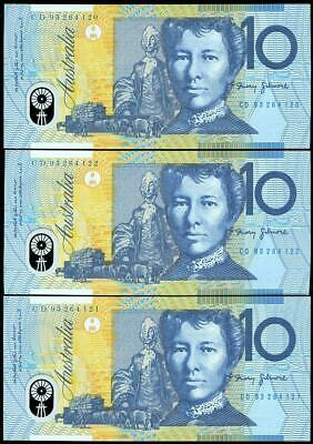 3 Consecutive 1993 Australian $10.00 Notes UNC - CD93 264120/22