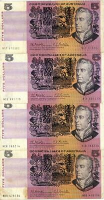 7 x 1969 Australian $5.00 Banknotes Coombs/Randall Signatures
