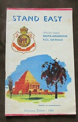 1960 Stand Easy Imperial Australia League Offical Organ Sth Mel RSL Xmas Edition