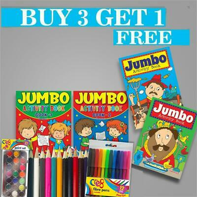 Kids A4 Jumbo Activity Book Books Colouring Pencils Over 144 Pages For Childrens