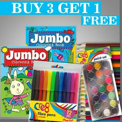 Kids A4 Jumbo Colouring Book Books Pencils Over 140 Pages Activity Boys Girls