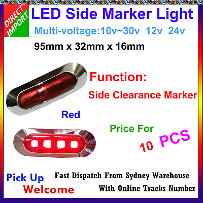 10X 12V 24V Red 4 SMD LED Side Marker Tail Light Clearance Lamp Truck AU Stock