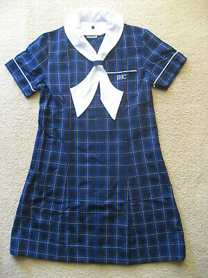 Girls Summer Navy Blue Check Dress School Uniform size 8 New