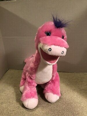 Build A Bear Pink Dinosaur Plush Stuffed Animal Purple Hair Dots BABW