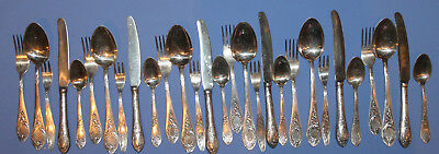 Antique Set 29 Pcs Russian Silver Plated Dining Flatware Forks, Knives & Spoons