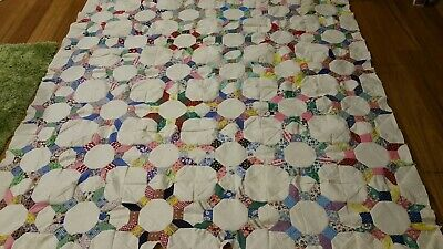 Vintage Castle Wall Quilt Top Feedsack