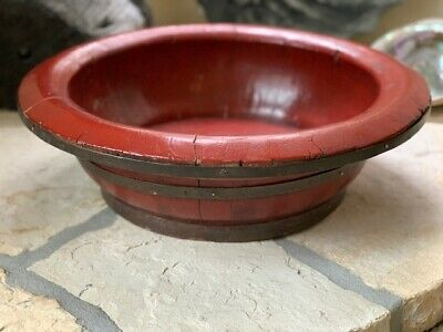 "21"" Antique Chinese Red Lacquered Wooden Bowl BEAUTIFUL"