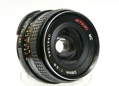 PENTAX M42 FITTING, MITSUKI 28MM F2.8 MC WIDE ANGLE LENS. EXCELLENT CONDITiON.