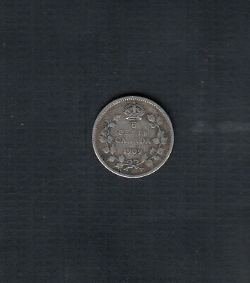 1909 Pointed Leaves Canada Silver 5 Cents