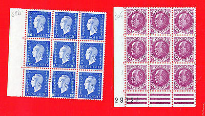 2 Blocs de 9 timbres** anciens : N°505 + 682. Type Pétain Prost + Dulac