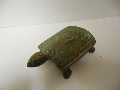Antique Chinese Brass Turtle Box 6 1/8""