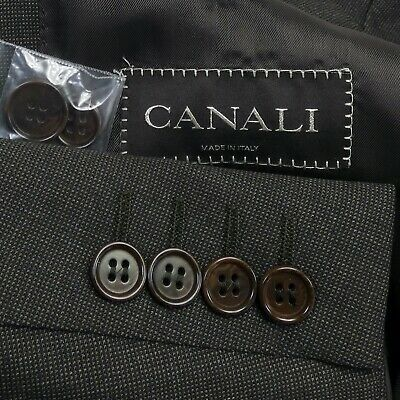LNWOT Canali Recent Fine Check Brown Wool Classic Italian Suit Mens 40R FF Pants