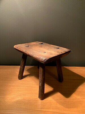 Small 18th Century Antique Primitive Oak Stick Milking Stool-Patina-table-decor