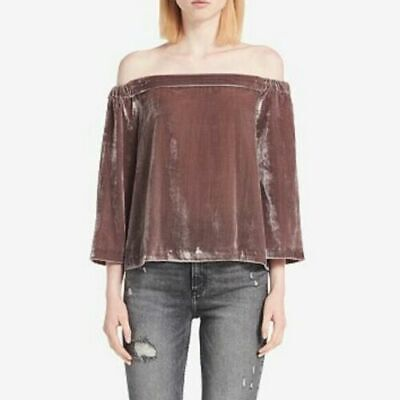 Calvin Klein Jeans Womens Size Large Brown Velvet Off The Shoulder Top $79 881