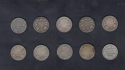 (1870-1901) Canada Silver 25 Cents Lot Of 10